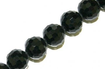 100pcs x 6mm Black faceted round glass beads -- S.J -- 3005755